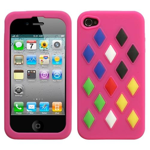 Insten Removable parts Module Silicone Rubber Cover Case For Apple iPhone 4/4S, Hot Pink/Colorful