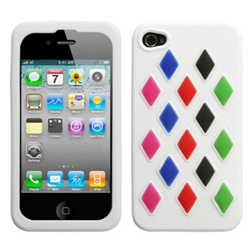 Insten Removable parts Module Rubber Cover Case For Apple iPhone 4/4S, White/Colorful