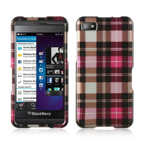 Insten Hard Rubber Coated Case For BlackBerry Z10, Pink/Brown