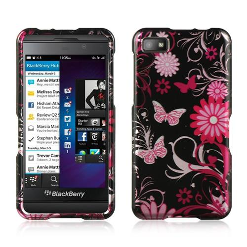 Insten Hard Rubberized Case For BlackBerry Z10, Black/Pink
