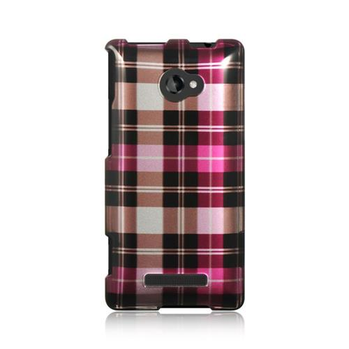 Insten Hard Rubber Coated Cover Case For HTC Windows Phone 8X, Hot Pink/Brown