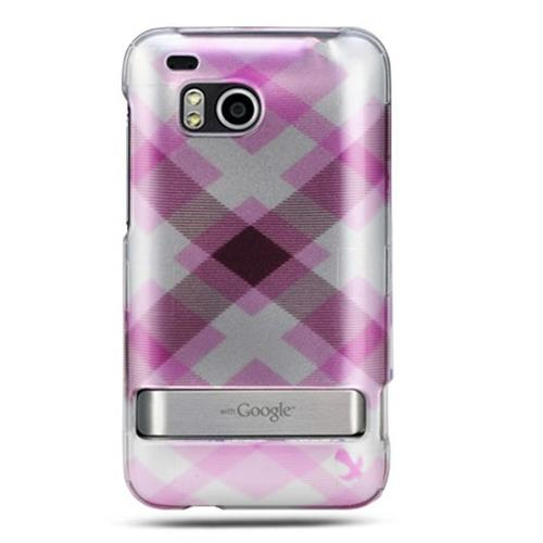 Insten Hard Rubber Coated Cover Case For HTC ThunderBolt 4G, Pink/Silver