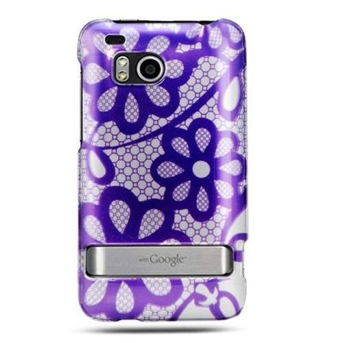 Insten Lace Flowers Hard Rubberized Cover Case w/stand For HTC ThunderBolt 4G, Purple/White