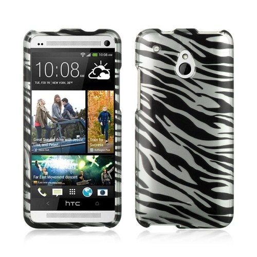 Insten Hard Rubber Case For HTC One Mini, Silver/Black