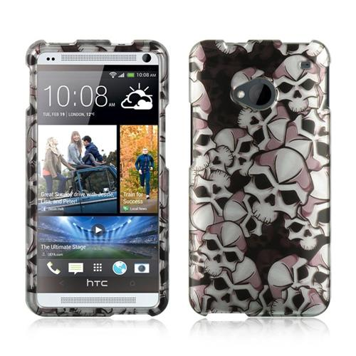 Insten Hard Rubber Coated Case For HTC One M7, Black/White