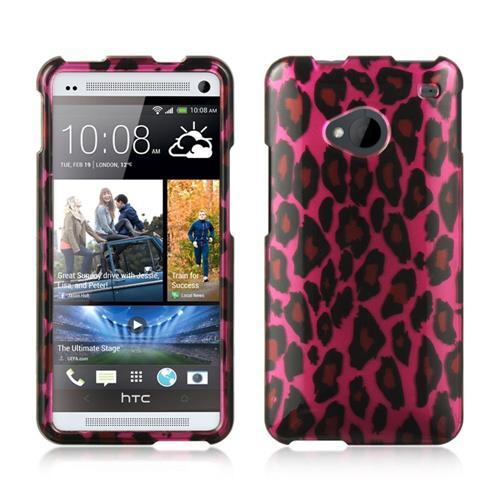 Insten Hard Rubber Case For HTC One M7, Hot Pink/Black