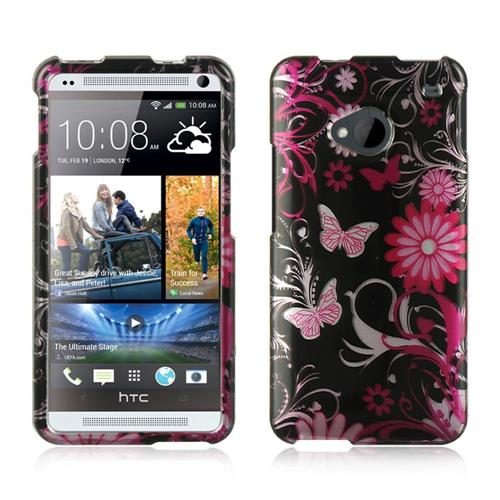 Insten Hard Rubber Case For HTC One M7, Black/Pink