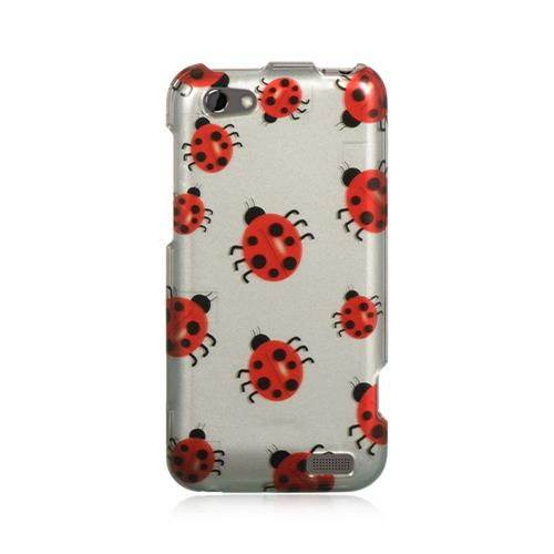 Insten Hard Rubberized Case For HTC One V, Silver/Red