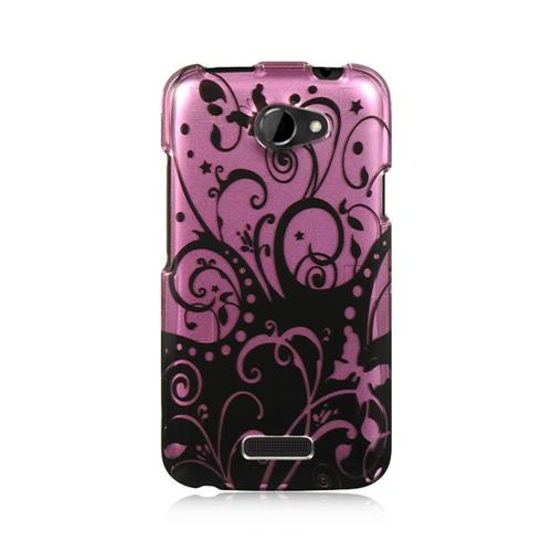 Insten Hard Rubber Coated Cover Case For HTC One X, Purple/Black