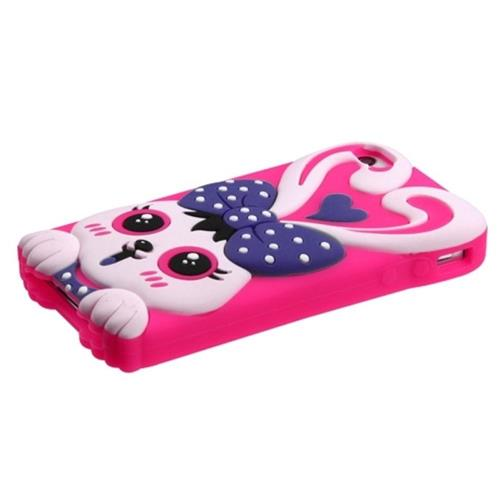 Insten Rabbit Rubber 3D Cover Case For Apple iPhone 4/4S, Hot Pink/Purple