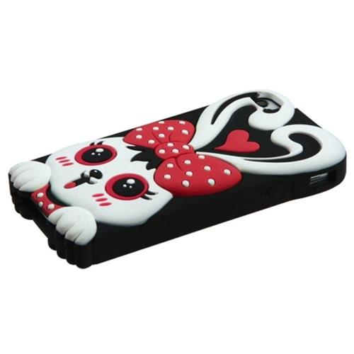 Insten Rabbit Gel 3D Rubber Case For Apple iPhone 4/4S, Black/Red