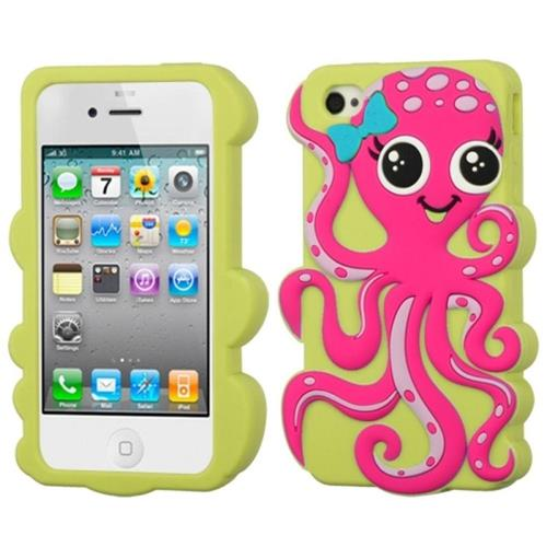 Insten Octopus Rubber 3D Cover Case For Apple iPhone 4/4S, Green/Hot Pink