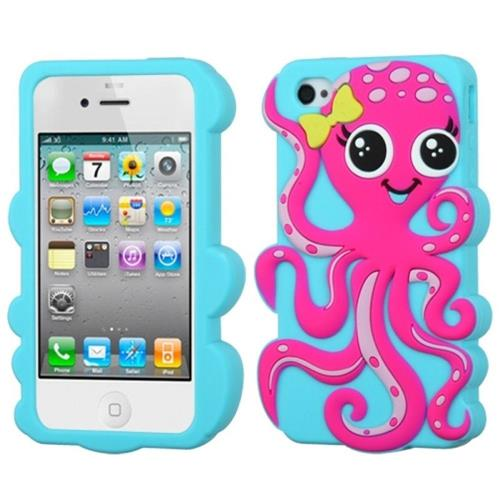 Insten Octopus Silicone 3D Rubber Cover Case For Apple iPhone 4/4S, Light Blue/Hot Pink
