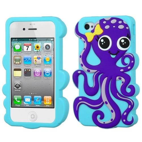 Insten Octopus Gel 3D Rubber Case For Apple iPhone 4/4S, Light Blue/Dark Purple