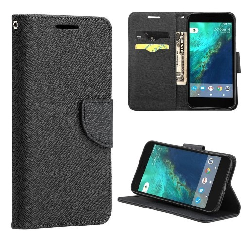 Insten Folio Leather Fabric Case Lanyard w/stand/card slot For Google Pixel, Black