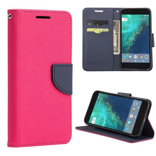 Insten Flip Leather Fabric Cover Case Lanyard w/stand/card slot For Google Pixel, Hot Pink/Navy Blue