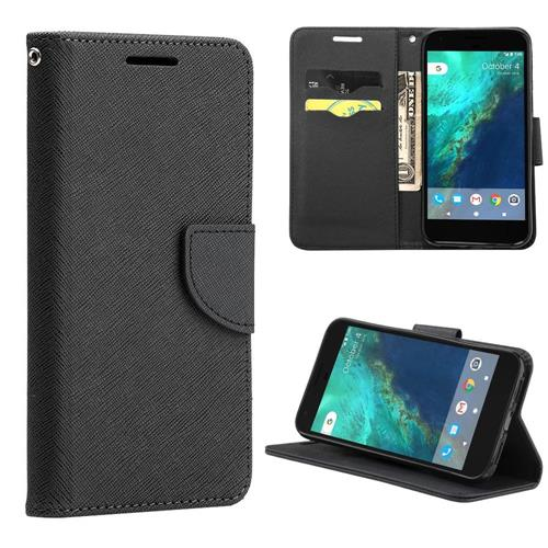Insten Book-Style Leather Fabric Cover Case Lanyard w/stand/card holder For Google Pixel XL, Black