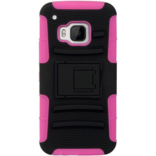 Insten Hard Hybrid Silicone Case w/stand For HTC One M9, Black/Pink
