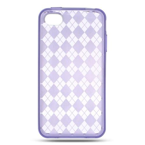Insten Checker Rubber Cover Case For Apple iPhone 4, Purple
