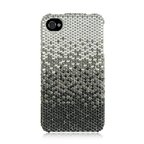 Insten Fitted Hard Shell Case for iPhone 4 / 4S - Silver/Black