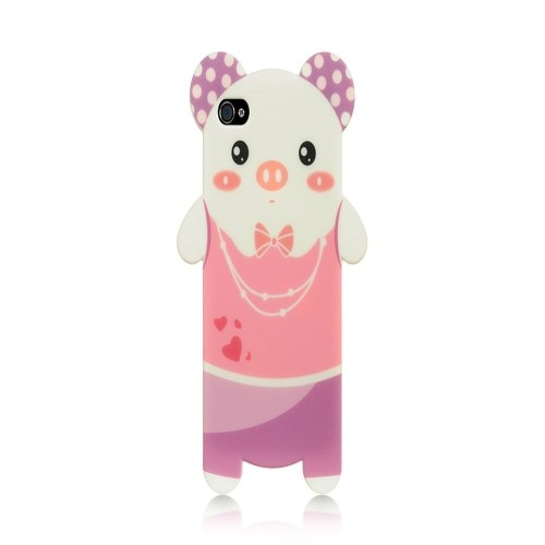 Insten Rubber Case For Apple iPhone 4, Pink/White