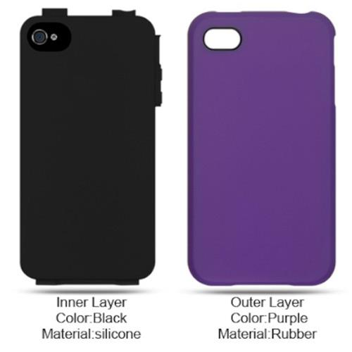Insten Hard Hybrid Rubber Silicone Case For Apple iPhone 4, Purple