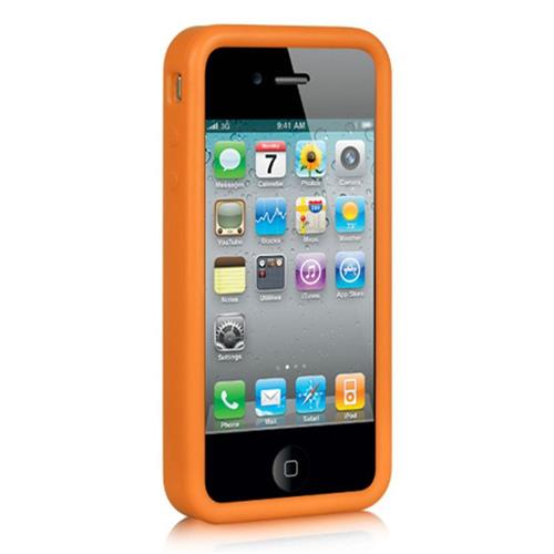 Insten Skin Rubber Cover Case For Apple iPhone 4, Orange