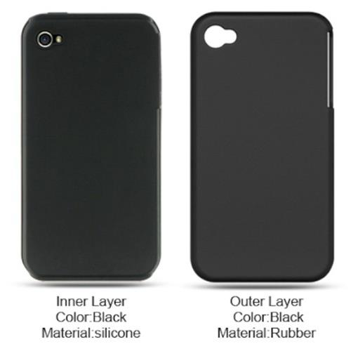 Insten Hard Hybrid Rubber Silicone Cover Case For Apple iPhone 4, Black