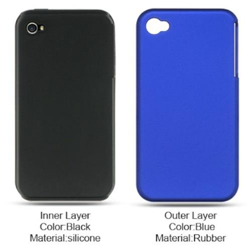 Insten Hard Hybrid Rubber Silicone Case For Apple iPhone 4, Blue/Black