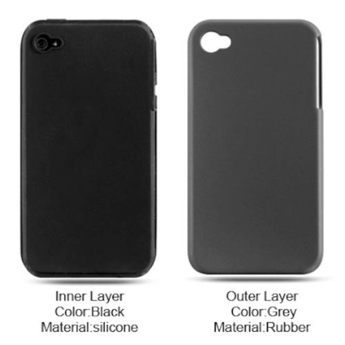 Insten Hard Hybrid Silicone Cover Case For Apple iPhone 4, Dark Gray/Black