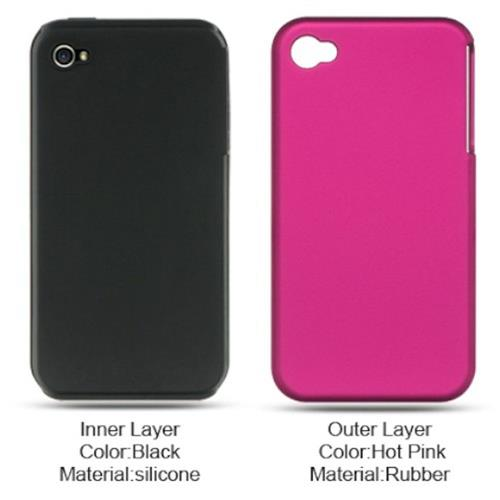 Insten Hard Dual Layer Silicone Case For Apple iPhone 4, Hot Pink/Black