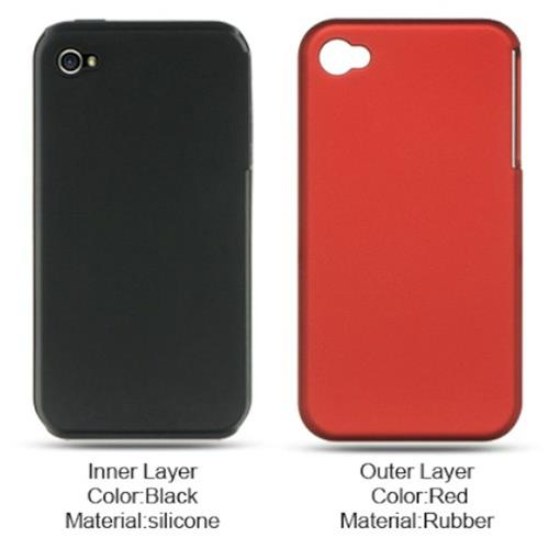 Insten Hard Hybrid Rubber Coated Silicone Case For Apple iPhone 4, Red/Black