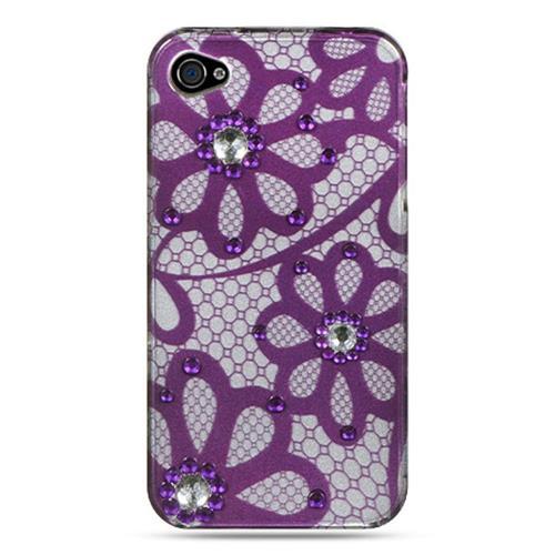 Insten Hard Rubber Case w/Diamond For Apple iPhone 4, Purple/White