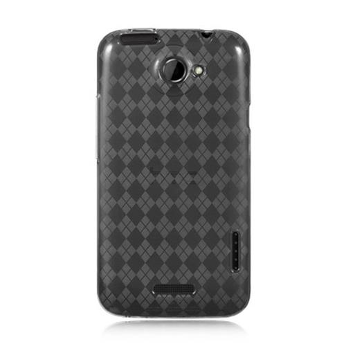 Insten Checker Rubber Case For HTC One X, Smoke