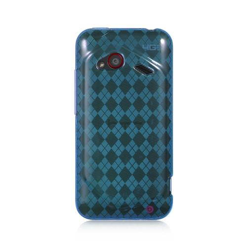 Insten Checker Rubber Cover Case For HTC Droid Incredible (LTE version), Blue