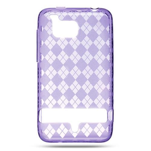Insten Checker TPU Case For HTC ThunderBolt 4G, Purple