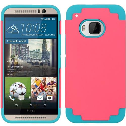 Insten Hard Hybrid Rubber Coated Silicone Case For HTC One M9, Hot Pink/Blue