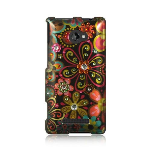 Insten Hard Case w/Diamond For HTC Windows Phone 8X, Black/Red