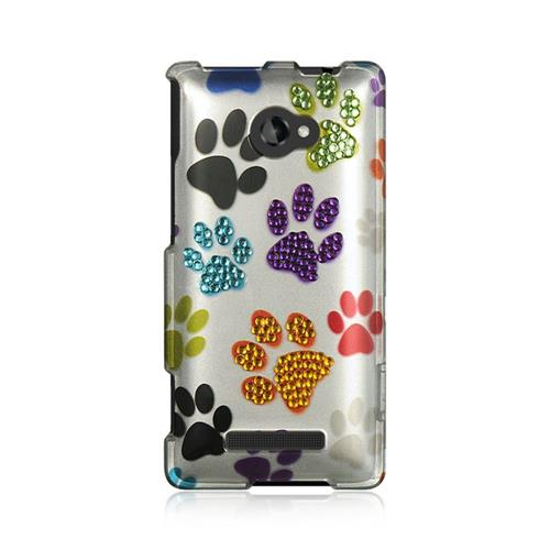 Insten Hard Rubber Coated Case w/Diamond For HTC Windows Phone 8X, Colorful
