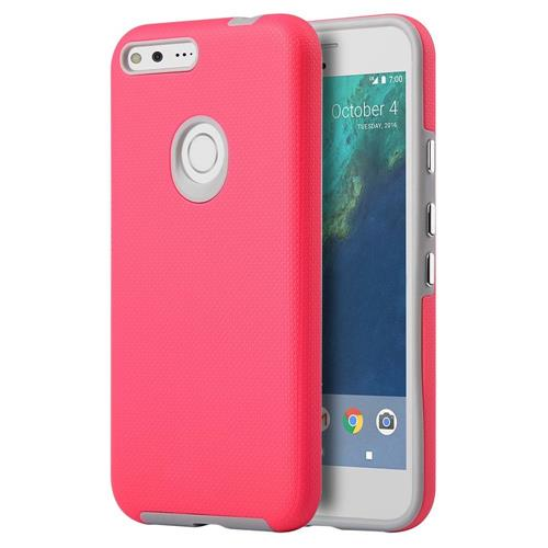 Insten Hard Dual Layer TPU Cover Case For Google Pixel XL, Hot Pink/Gray