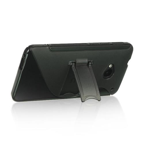 Insten Hard TPU Cover Case w/stand For HTC One M7, Smoke/Black