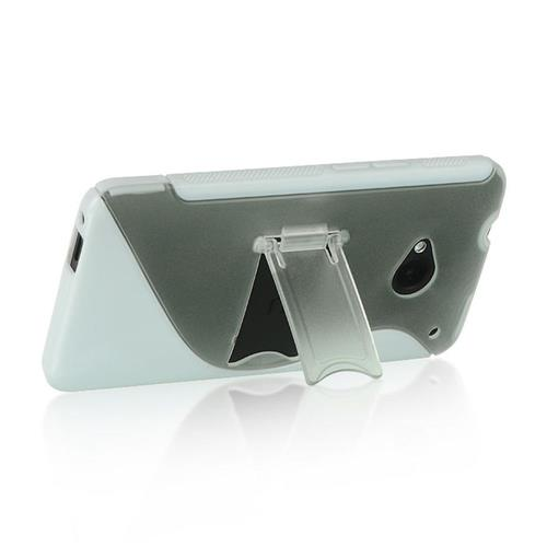 Insten Hard TPU Cover Case w/stand For HTC One M7, Clear/White