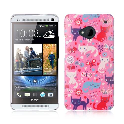 Insten Hard Rubber Case For HTC One M7, Pink/White