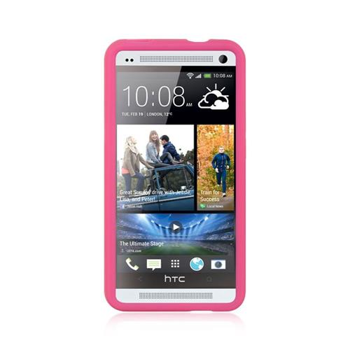 Insten Soft Rubber Cover Case For HTC One M7, Hot Pink