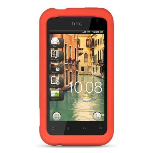 Insten Skin Rubber Cover Case For HTC Rhyme / Bliss, Red