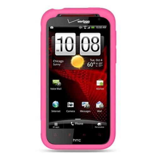 Insten Gel Rubber Cover Case For HTC Rezound / Vigor, Hot Pink