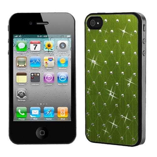 Insten Green Studded Back Plate Cover (Black Sides) compatible with Apple iPhone 4/4S