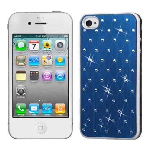 Insten Dark Blue Studded Back Plate Cover (White Sides) compatible with Apple iPhone 4/4S