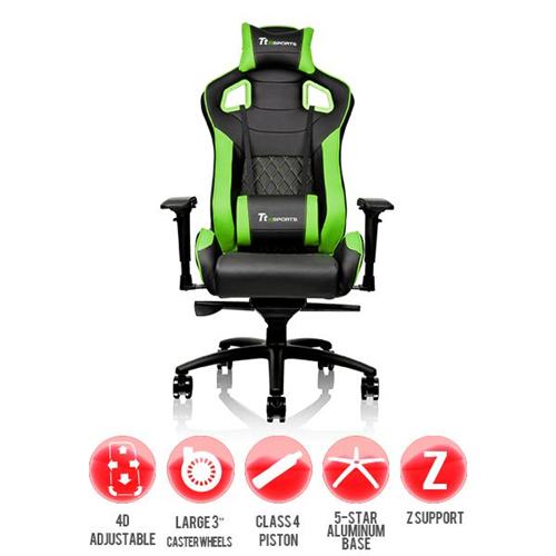 Thermaltake TT eSPORTS GT Fit Series Professional Gaming Chair GTF 100 Black & Green (support up to 120kg)