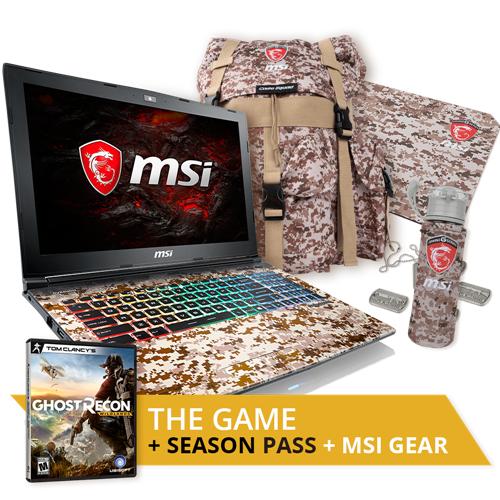 "MSI GE62VR 7RF-665CA Apache Pro Camo Squad 15.6"" Gaming Laptop Bundle"